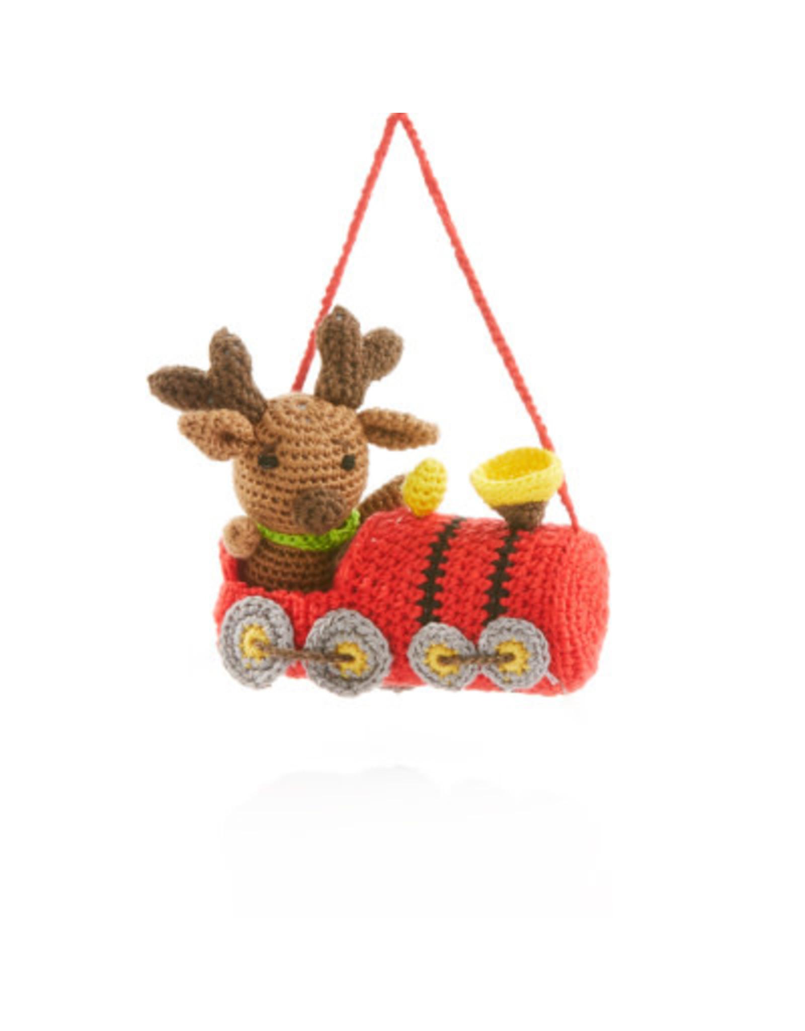 Conductor Moose Crocheted Ornament, Vietnam