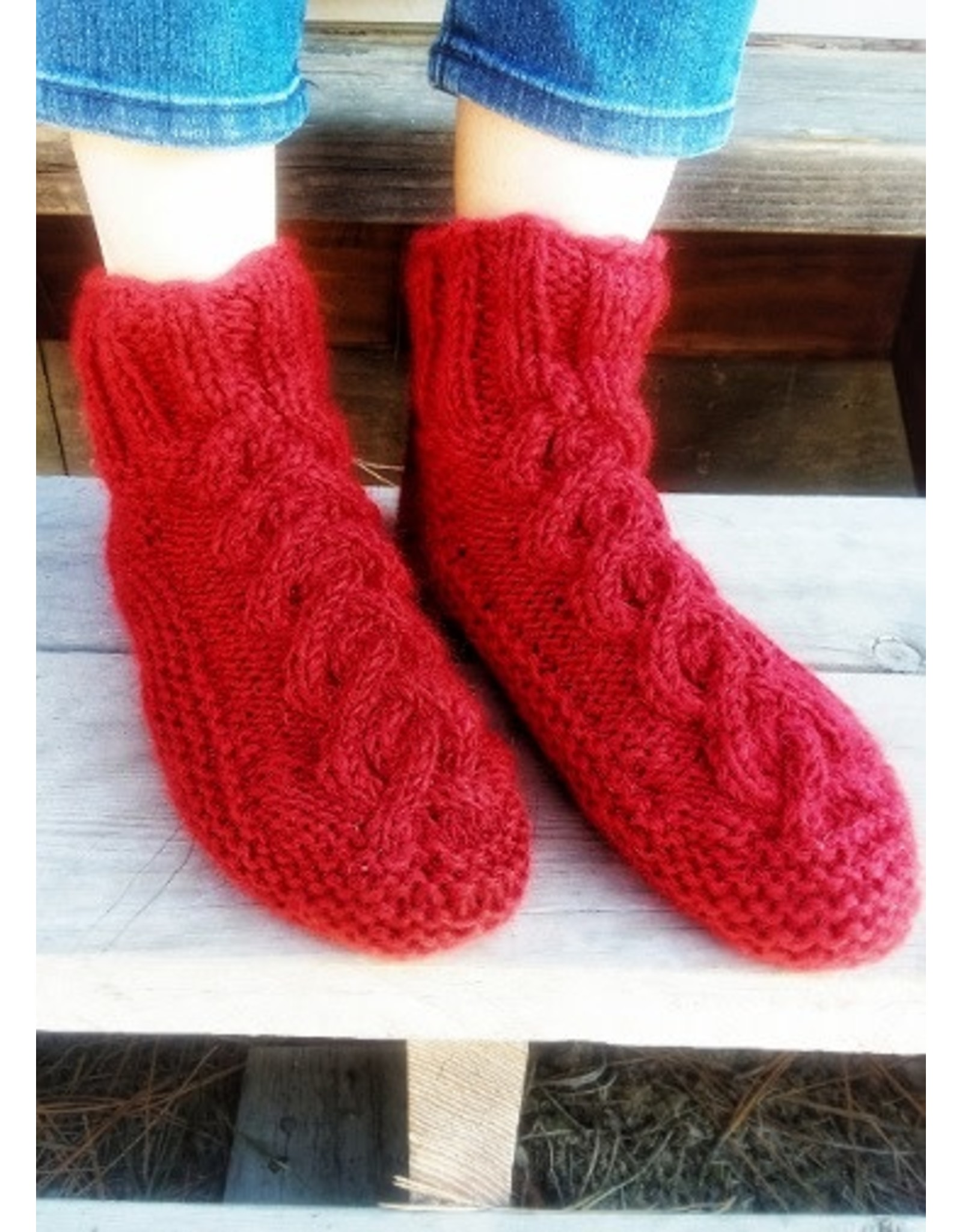 Cable Knit Fleece Lined Slippers, COLORS VARY, Nepal