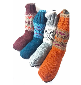 Knit Slippers w/ Suede Bottoms, Nepal