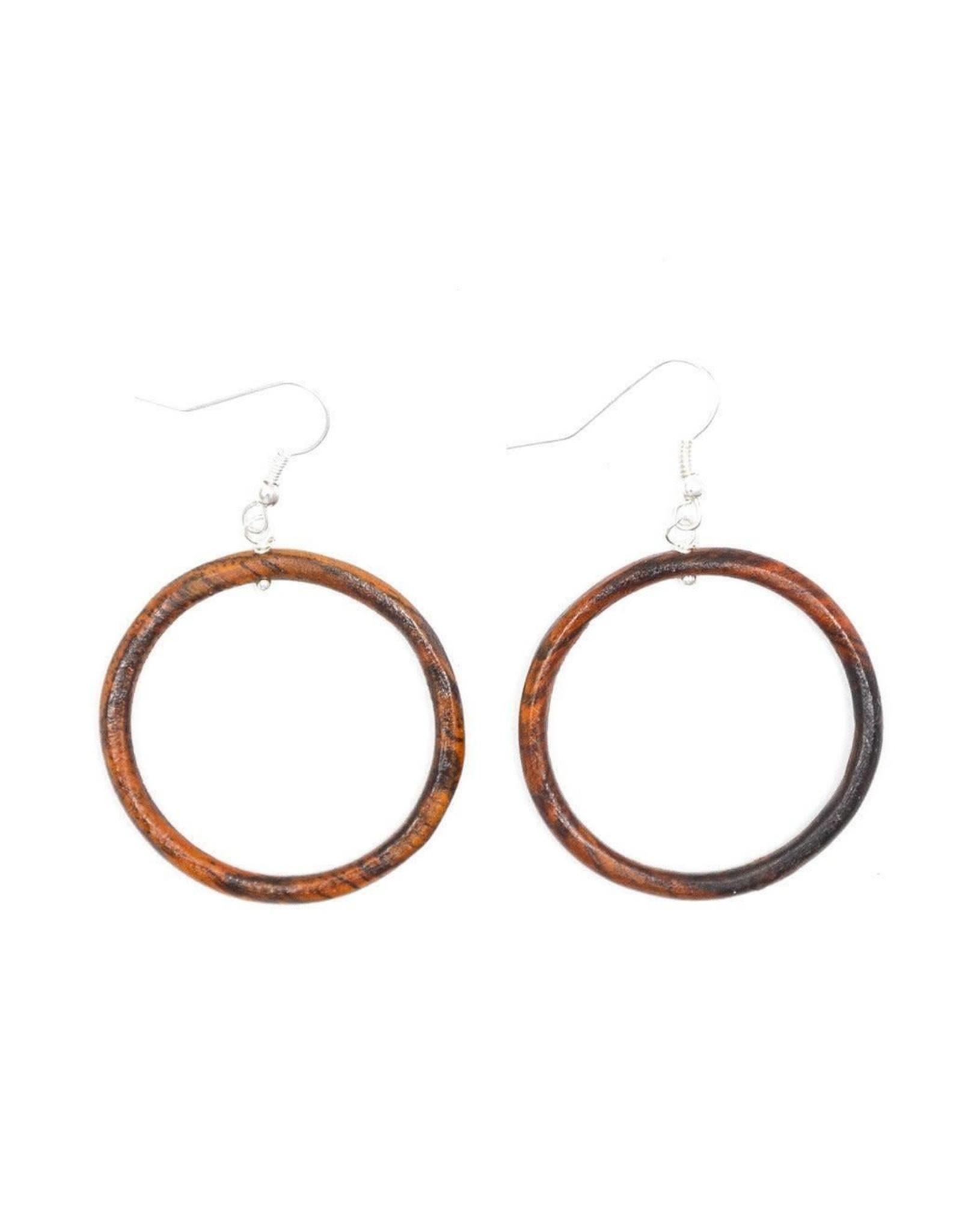 Wood Round Earrings, Guatemala