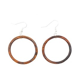 Wood Round Earrings, Guatemala