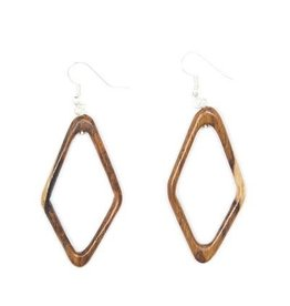 Wood Diamond Hoops, Guatemala