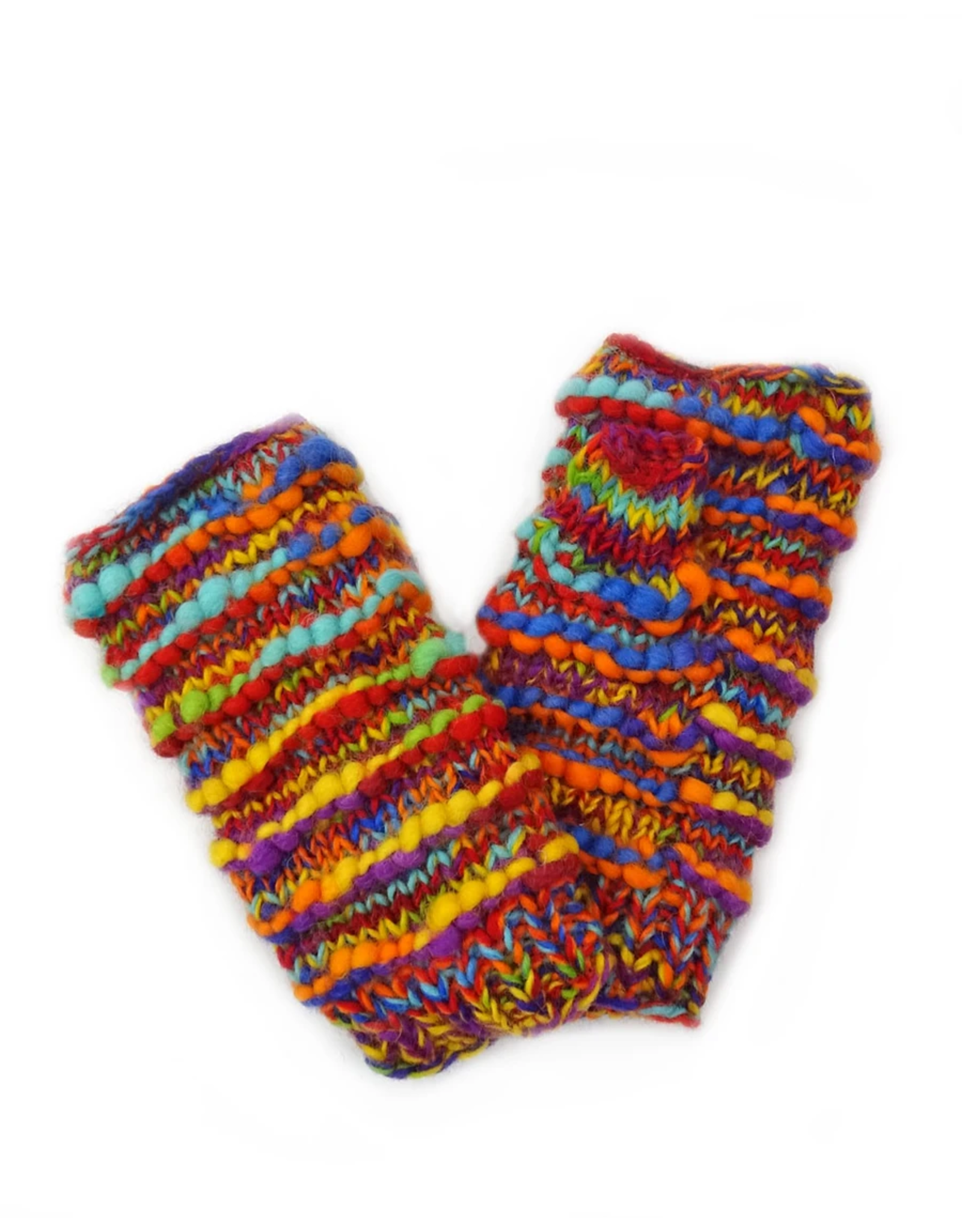 Fingerless Gloves, Ribbed Wool with Fleece Lining