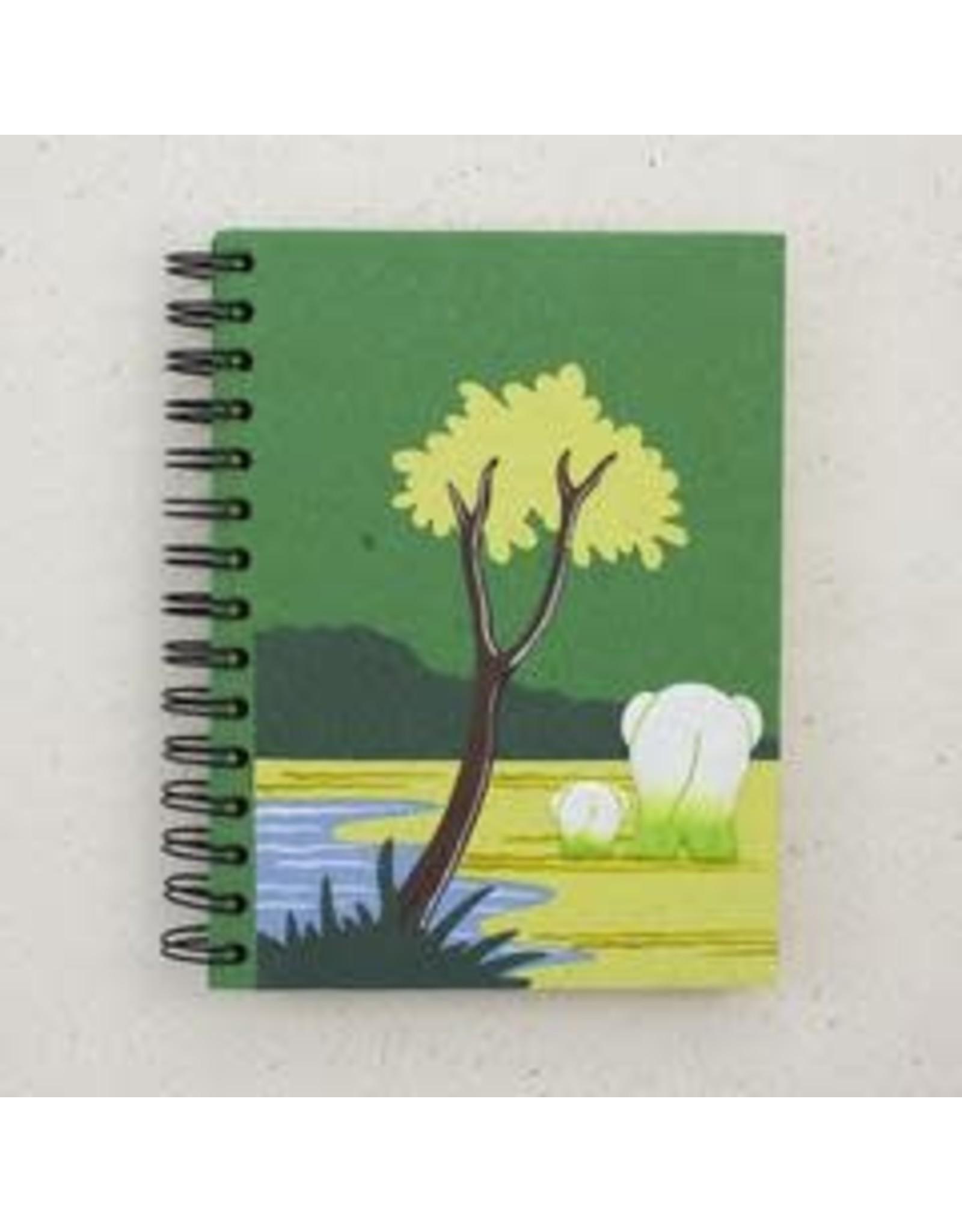 Large Notebook, Elephants, Dark Green