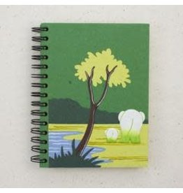 Large Notebook, Elephants, Dark Green