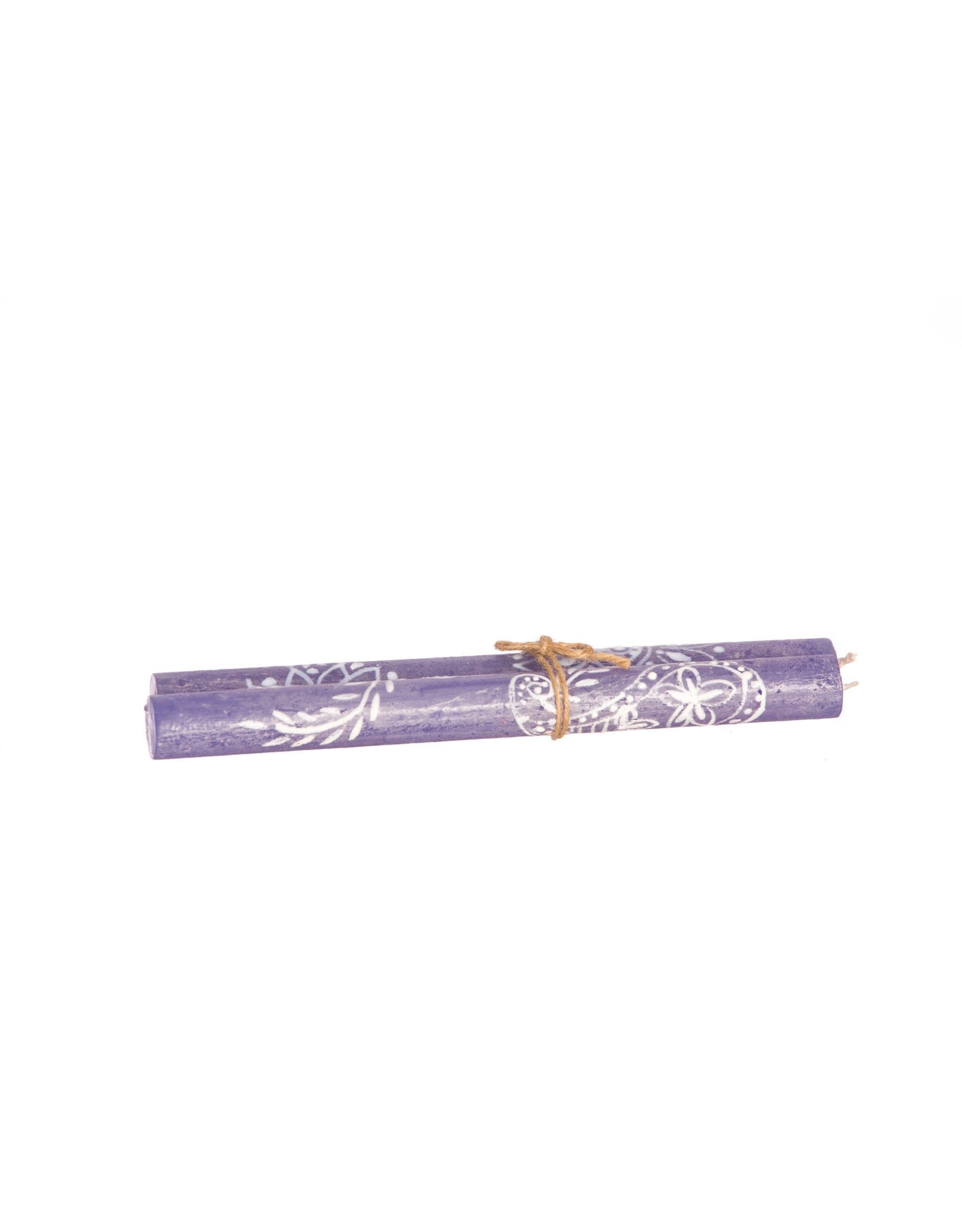 """Henna White on Blue,  Pair Taper Candles 9"""", South Africa"""