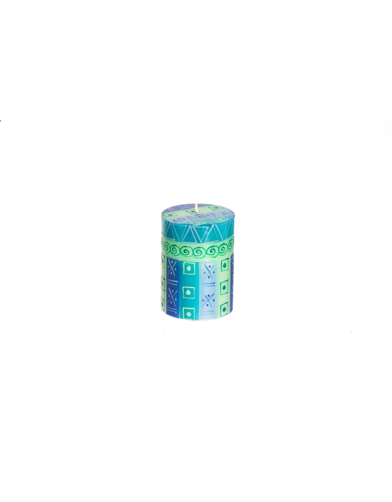 Blue/Green 3 x 4 Pillar Candle, South Africa