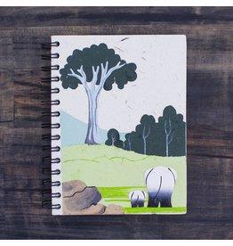 Large Notebook, Elephants,  White, Sri Lanka