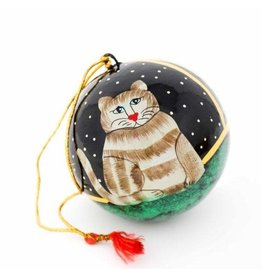 Hand Painted Cat Ornament, India