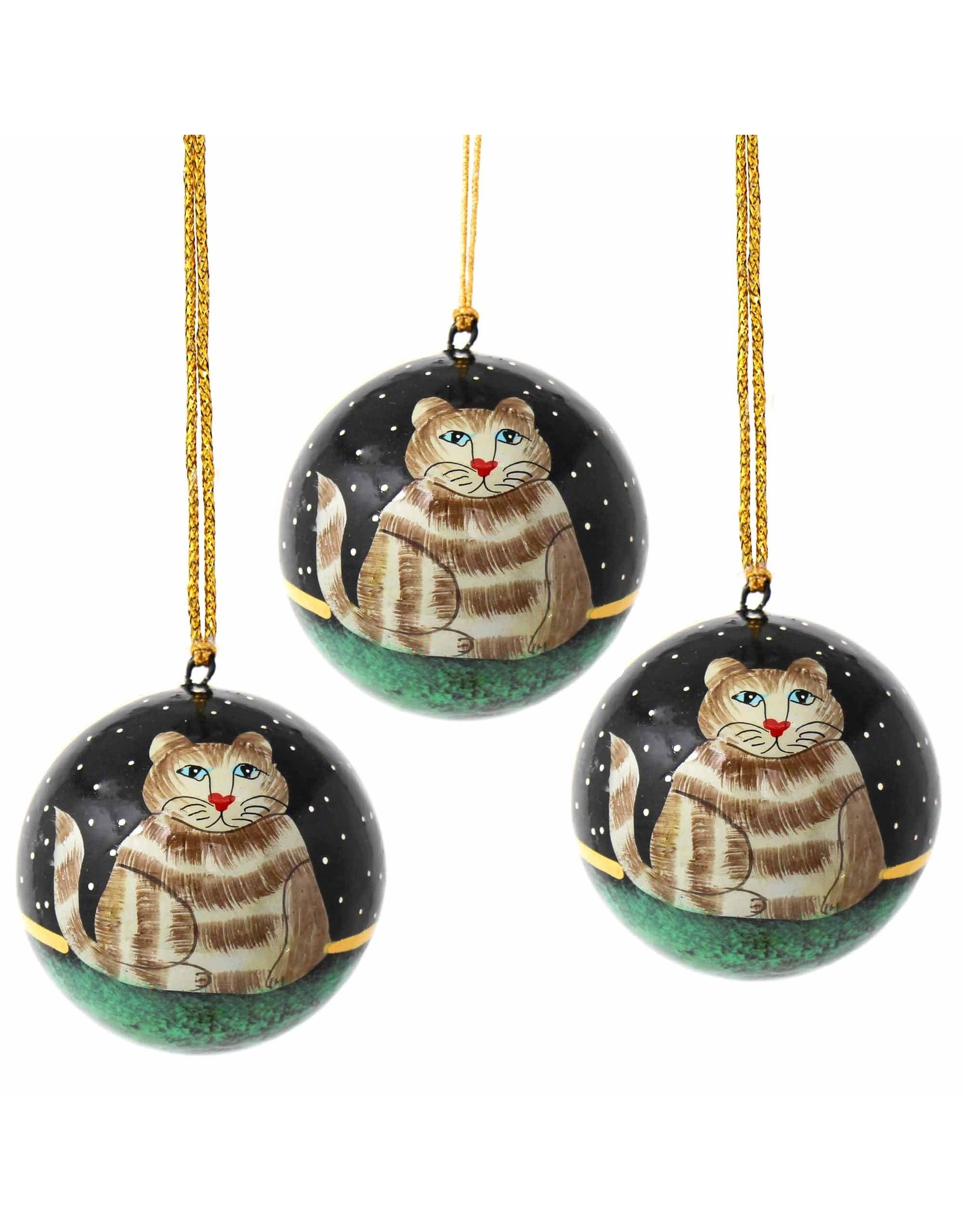 Handpainted Cat Ornament, India