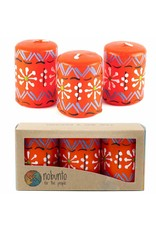 Hand Painted Red Votive Candles, Masika Design