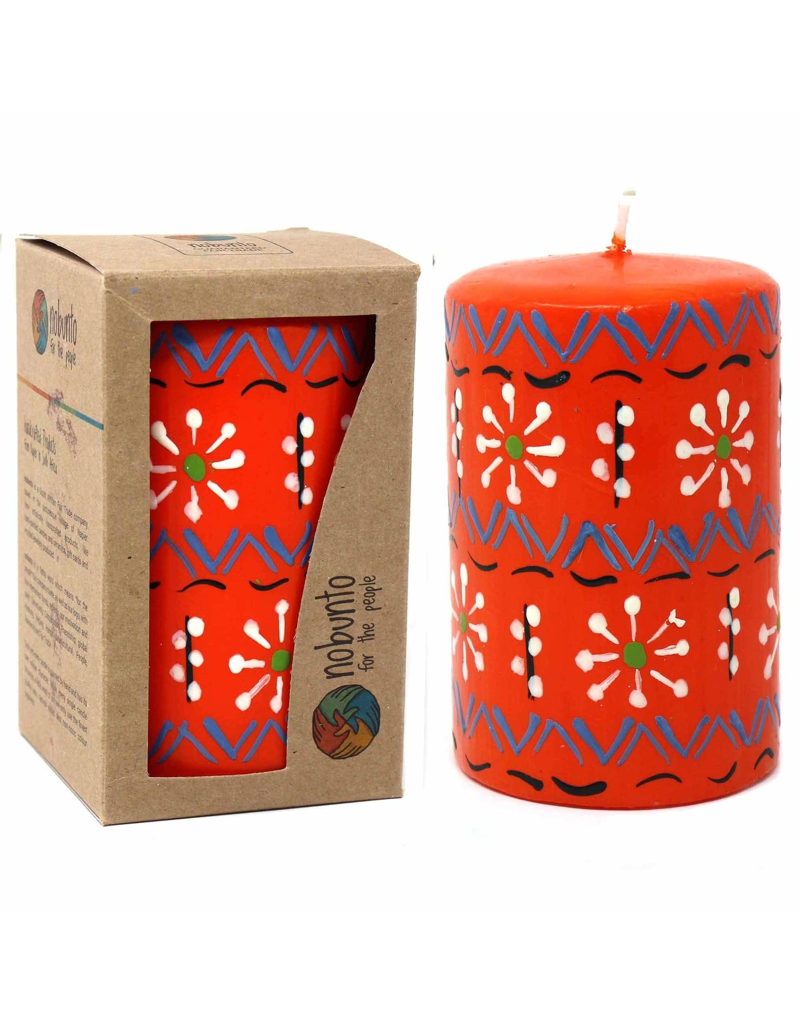 "Hand Painted Orange Pillar Candle, 4"" Masika Design"