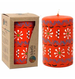 "Hand Painted Orange Pillar Candle, 4"" Masika Design"