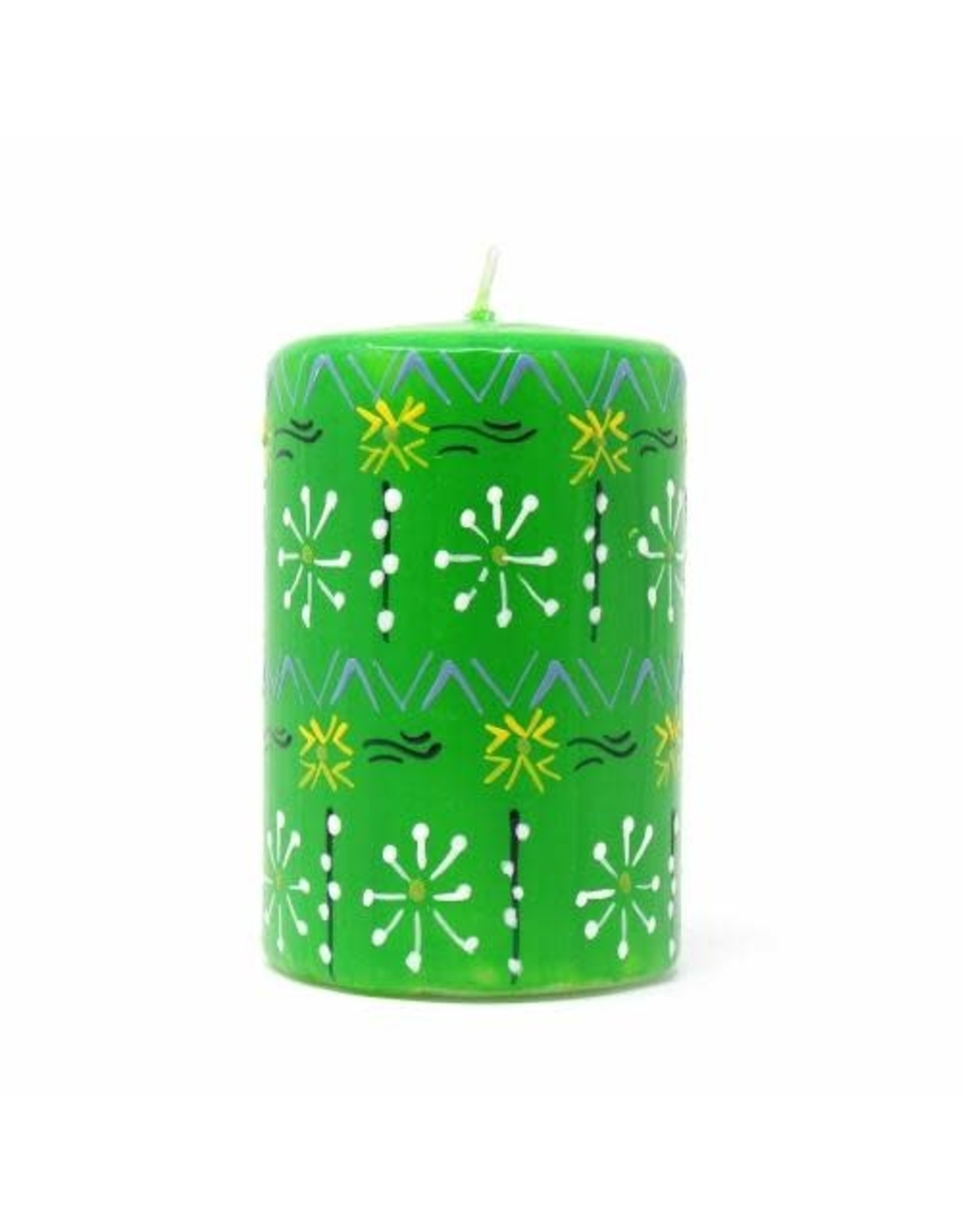 "Hand Painted Green Pillar Candle, 4"", Masika Design"