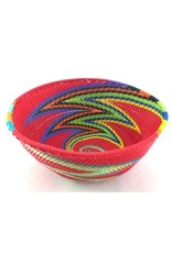 Medium Round Telephone Wire Bowl, Red Rainbow