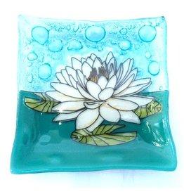 Hand Blown  Small Square Glass Dish, White Lotus, Ecuador