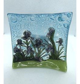 Hand Blown  Small Square Glass Dish,  Iris Flower, Ecuador