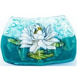 Hand Blown Glass Soap Dish, White Lotus, Ecuador
