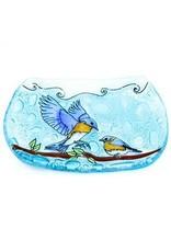 Hand Blown Glass Soap Dish, Blue Birds, Ecuador