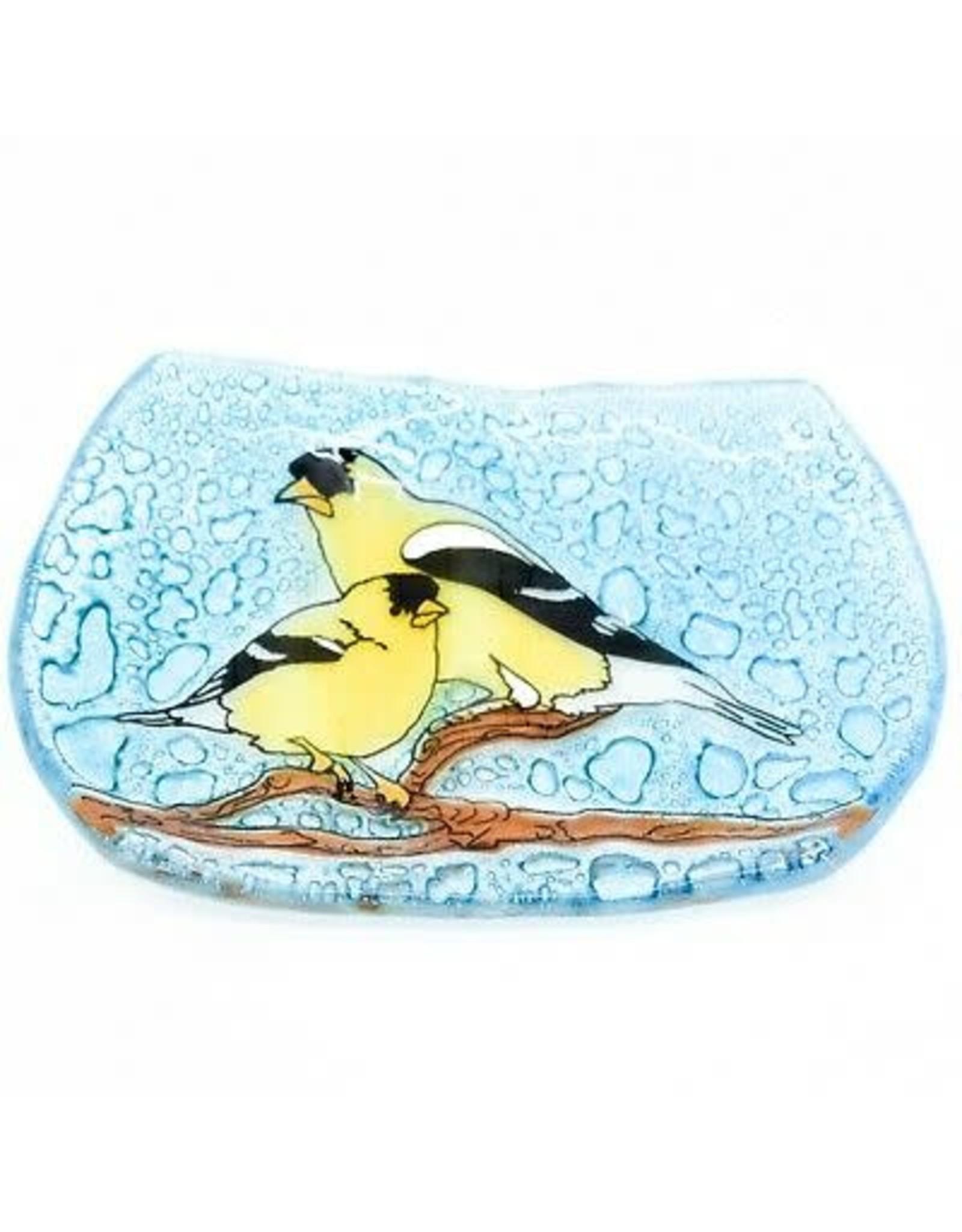 Hand Blown Glass Soap Dish, Goldfinch, Ecuador