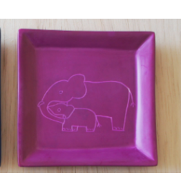 Elephant Mother and Child, Square Dish, Soapstone, Kenya