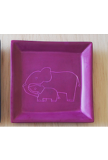 Elephant Mother and Child, Soapstone Square Dish