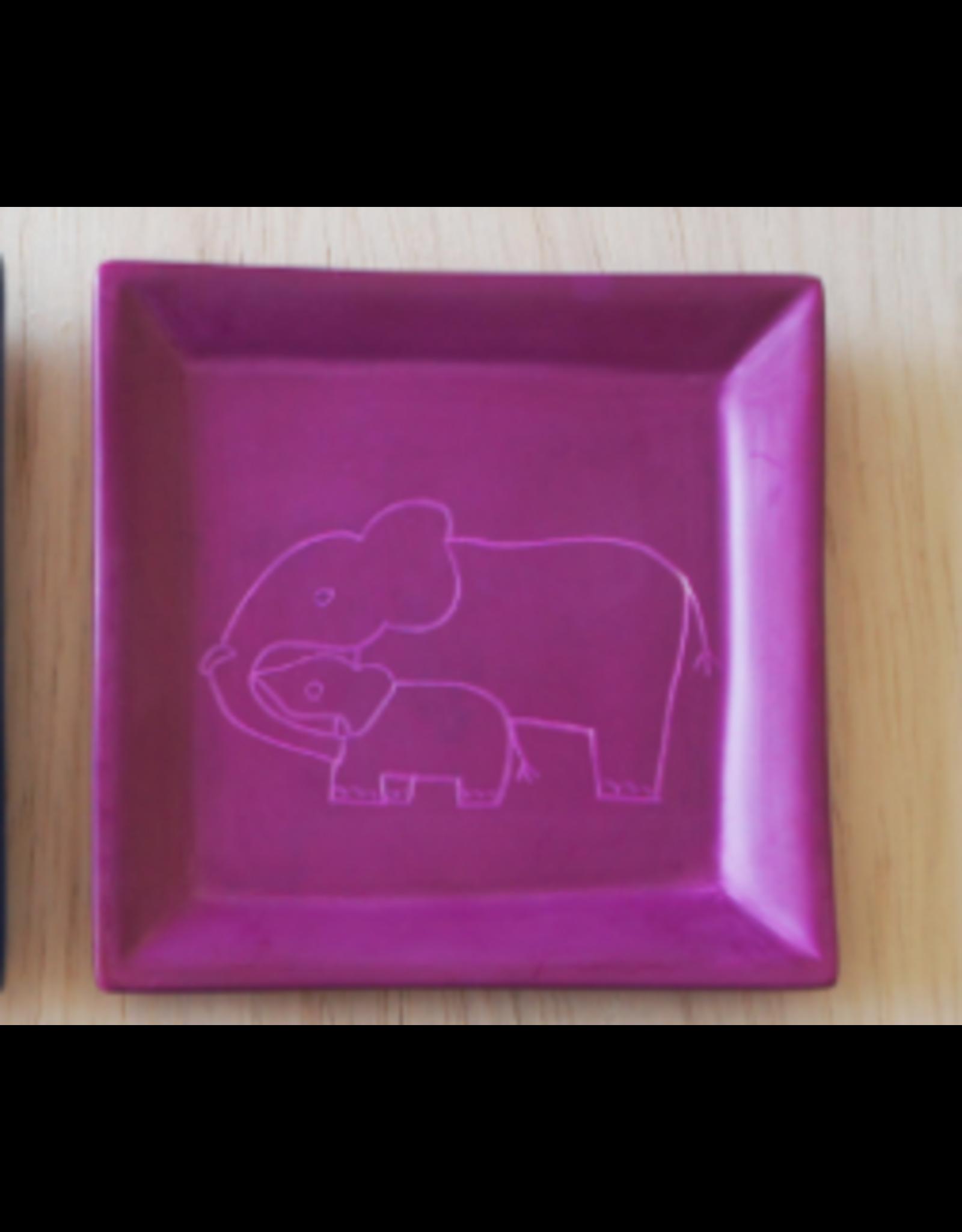 Elephant Mother and Child, Square Dish, Soapstone, Kenya