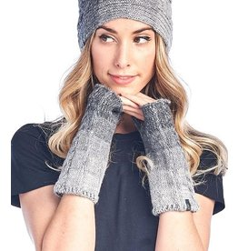 Alpaca Fingerless Gloves, Faded Charcoal, Peru