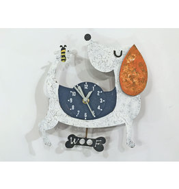 Woof Dog Wall Clock, White, Columbia