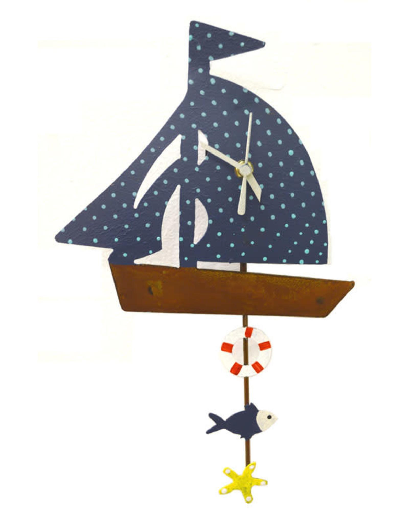 Sail Boat Wall Clock, Teal,  Columbia