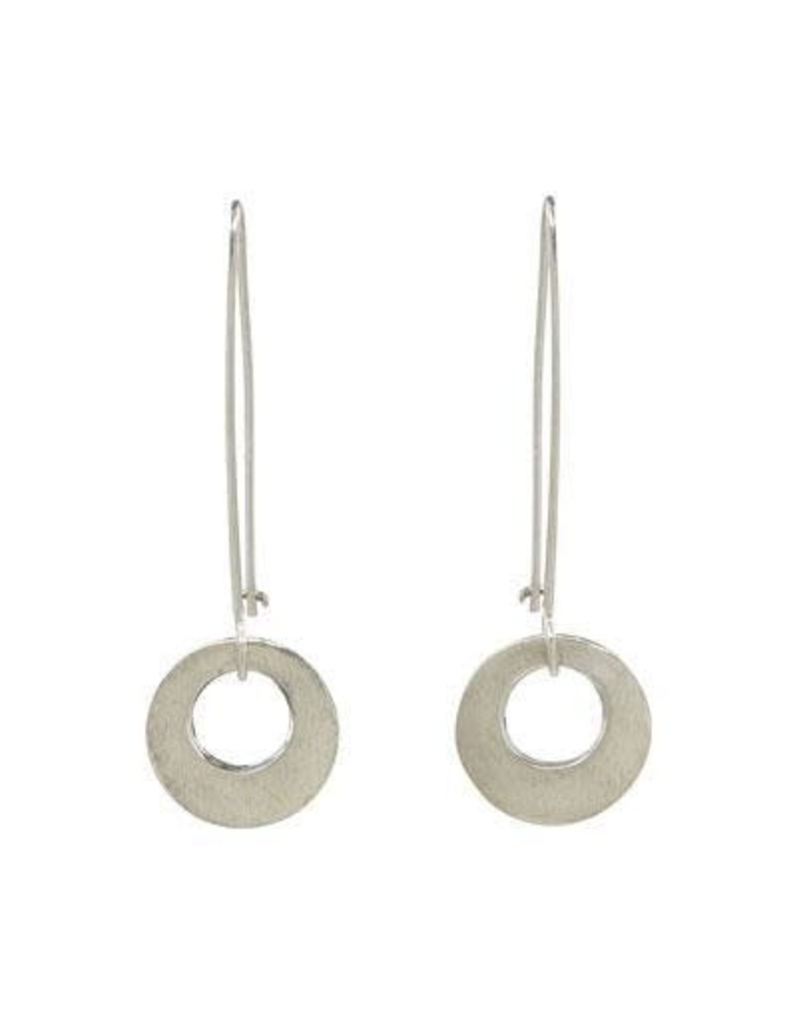 Circle on Sterling Silver Long Wire Earrings, Mexico