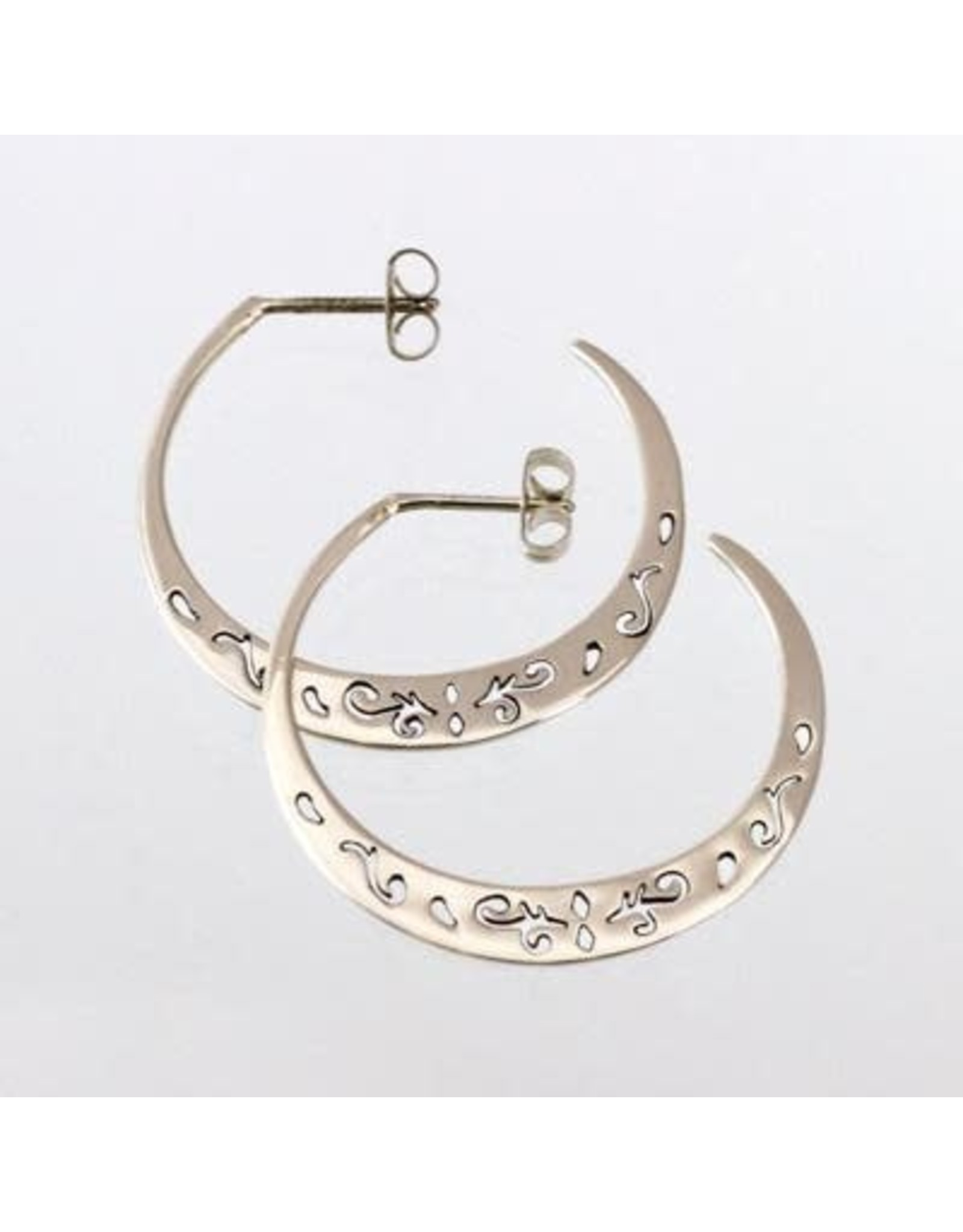 Sterling Post Hoop With Cutout Swirls, Mexico