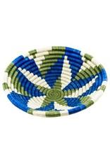 Agaseke Woven Bowl Basket, Blue /Green/White, Rwanda
