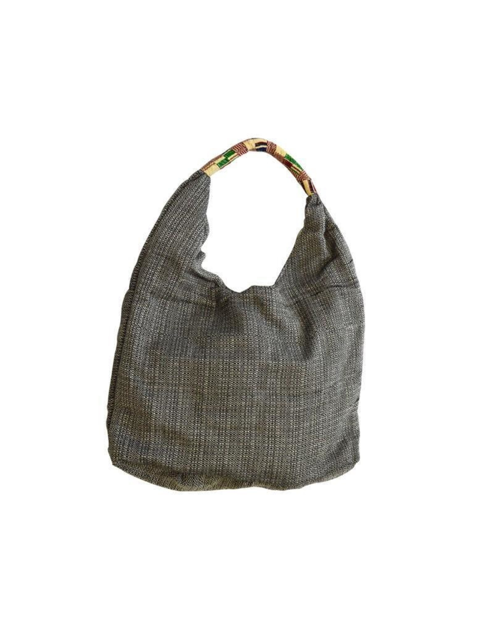 Black and White Woven Hobo Bag, Uganda