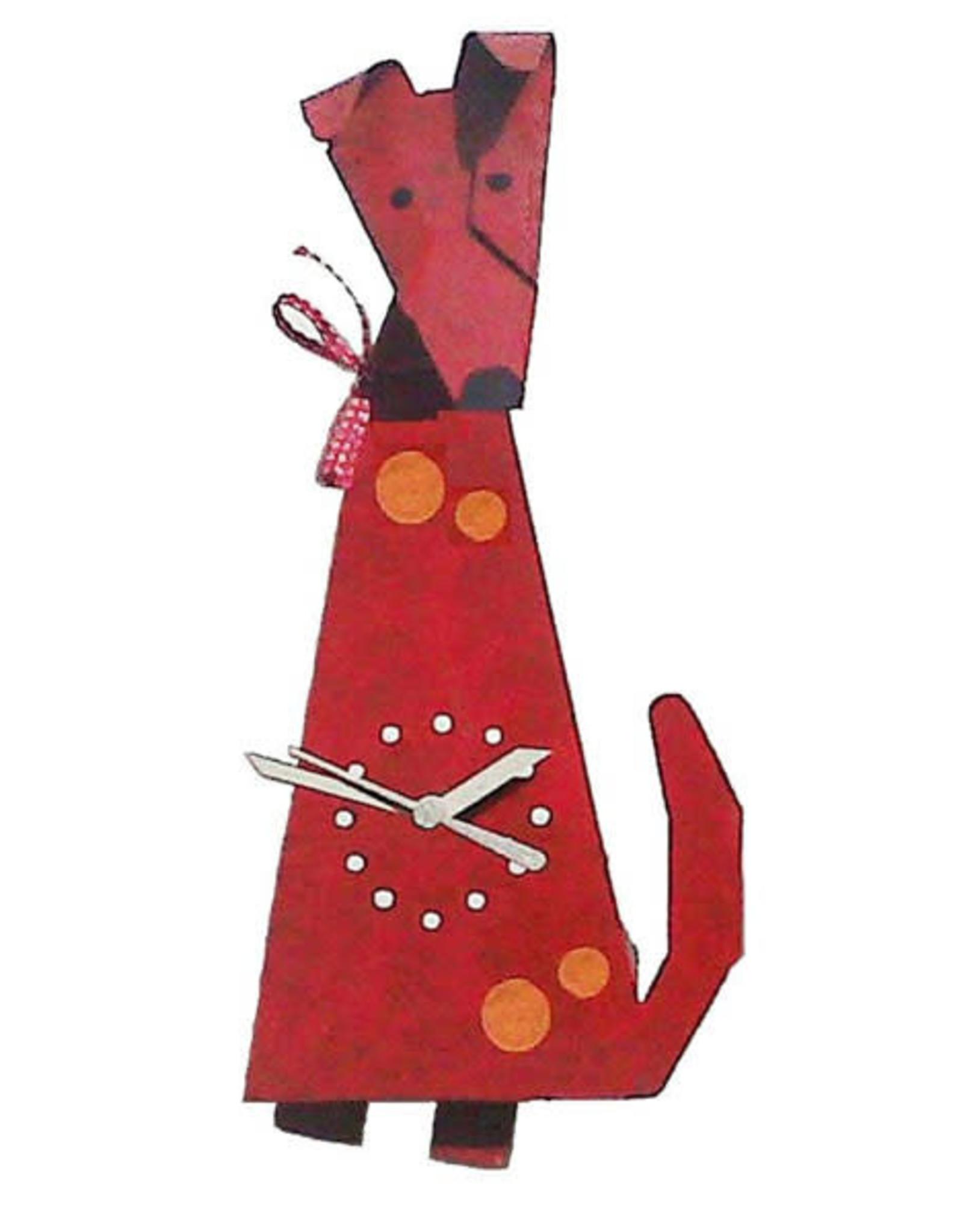 Dog Wall Clock, Red, Columbia