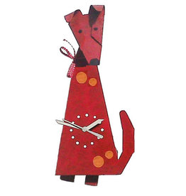 Dog Wall Clock, Red, Columbia