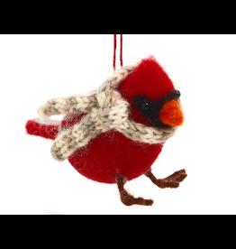 Cozy Cardinal Ornament,  Nepal