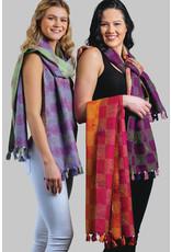 Recycled Silk Kantha Scarf  w/ Tassels