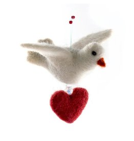 Wool Dove Ornament with Heart, Guatemala