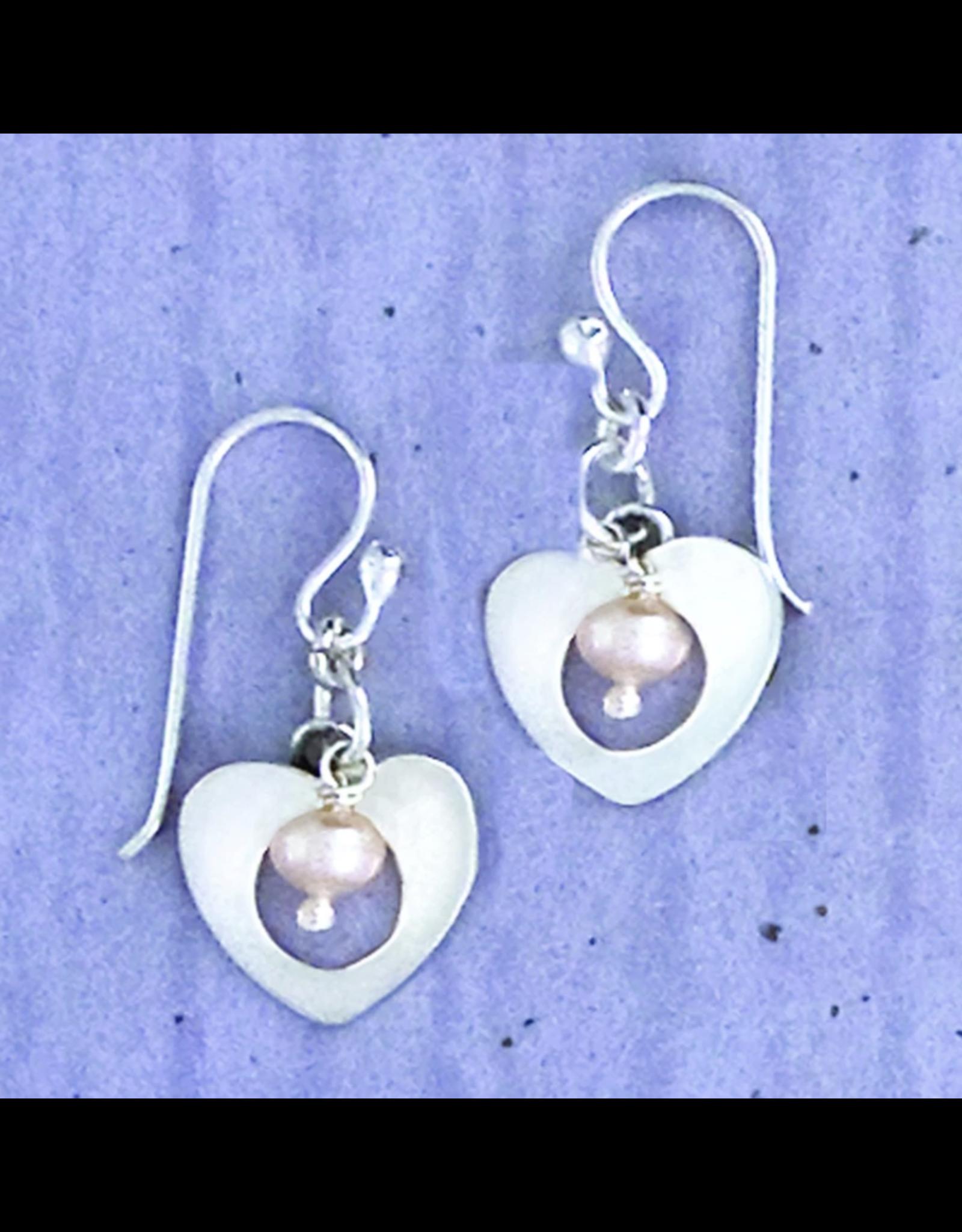 Sterling Heart w/FWP Wire Earrings