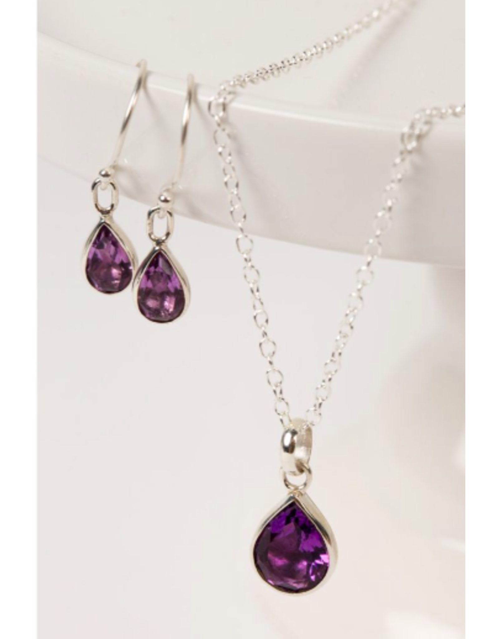 Amethyst and Sterling Pendant Necklace