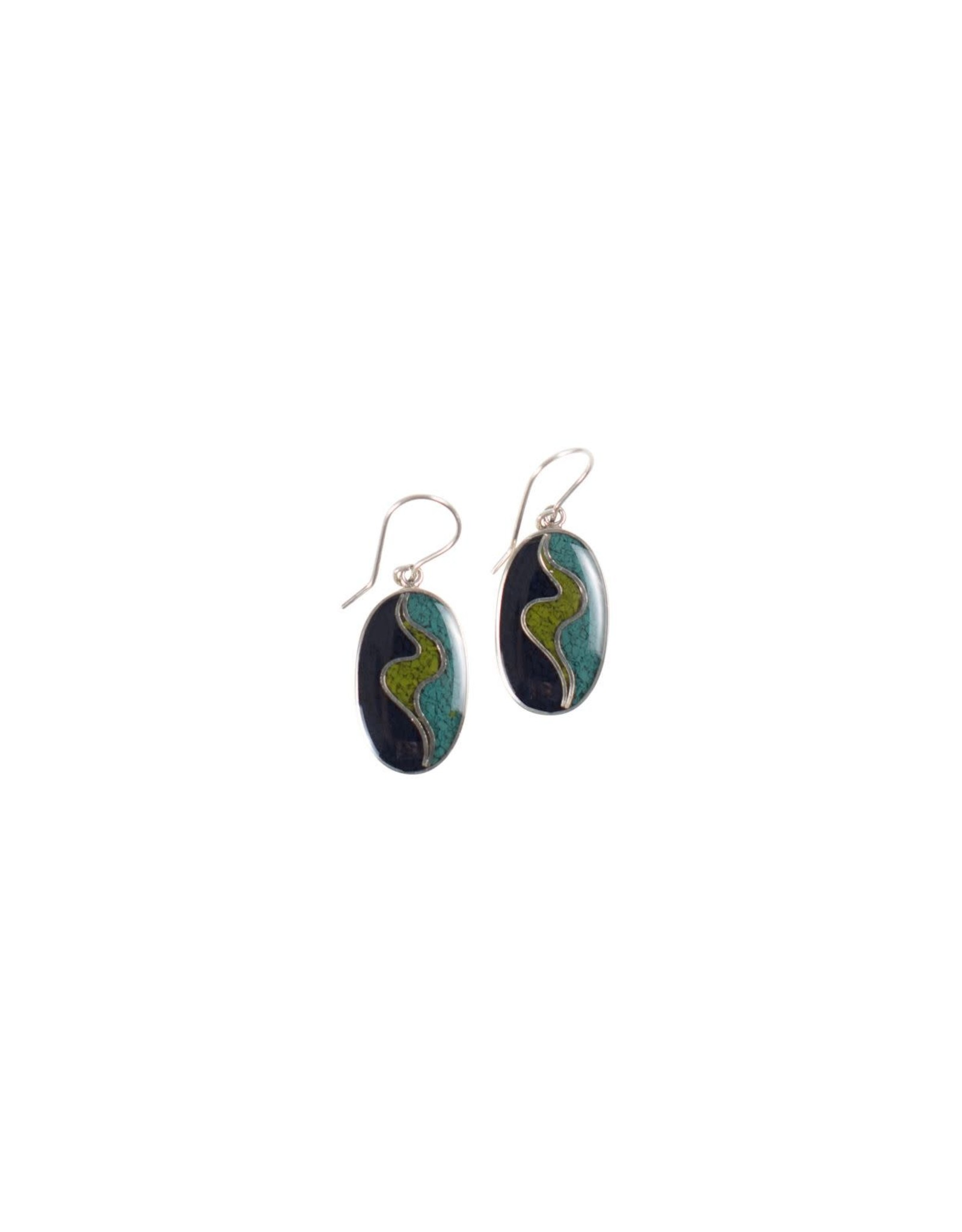 Dyed Resin Chips Earrings, Sterling Hooks, Peru