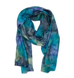 Blues & Greens  Painted Scarf, India