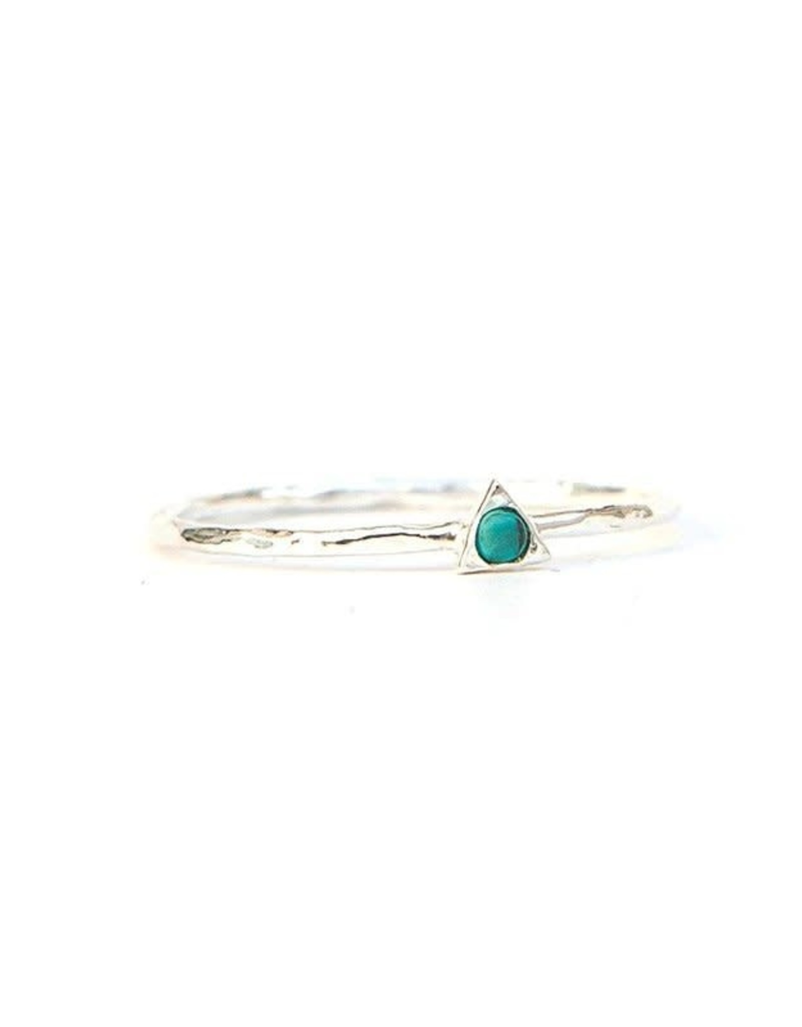 Tiny Triangle Sterling Ring- Turquoise