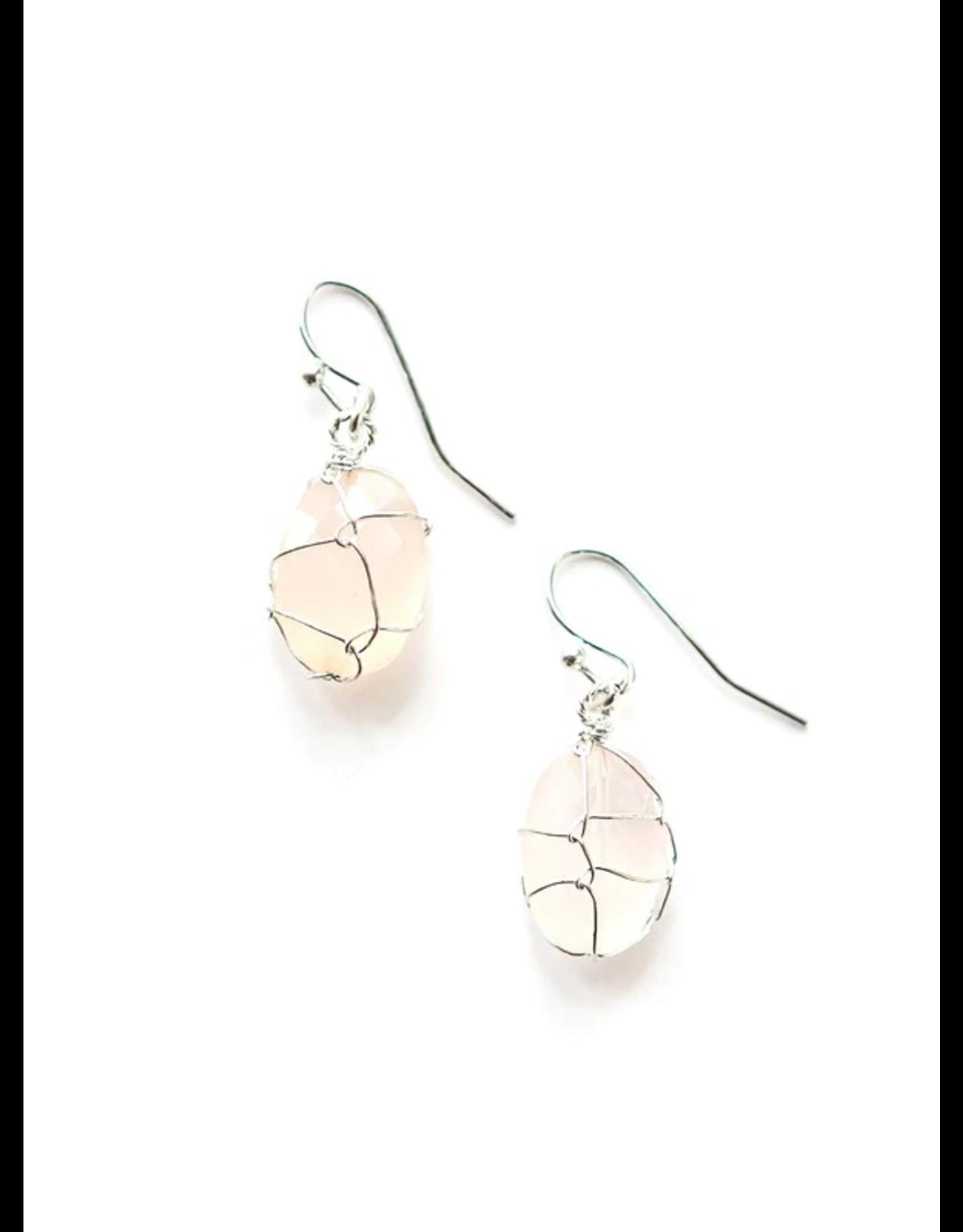 Rose Quartz Wrap Earrings, India