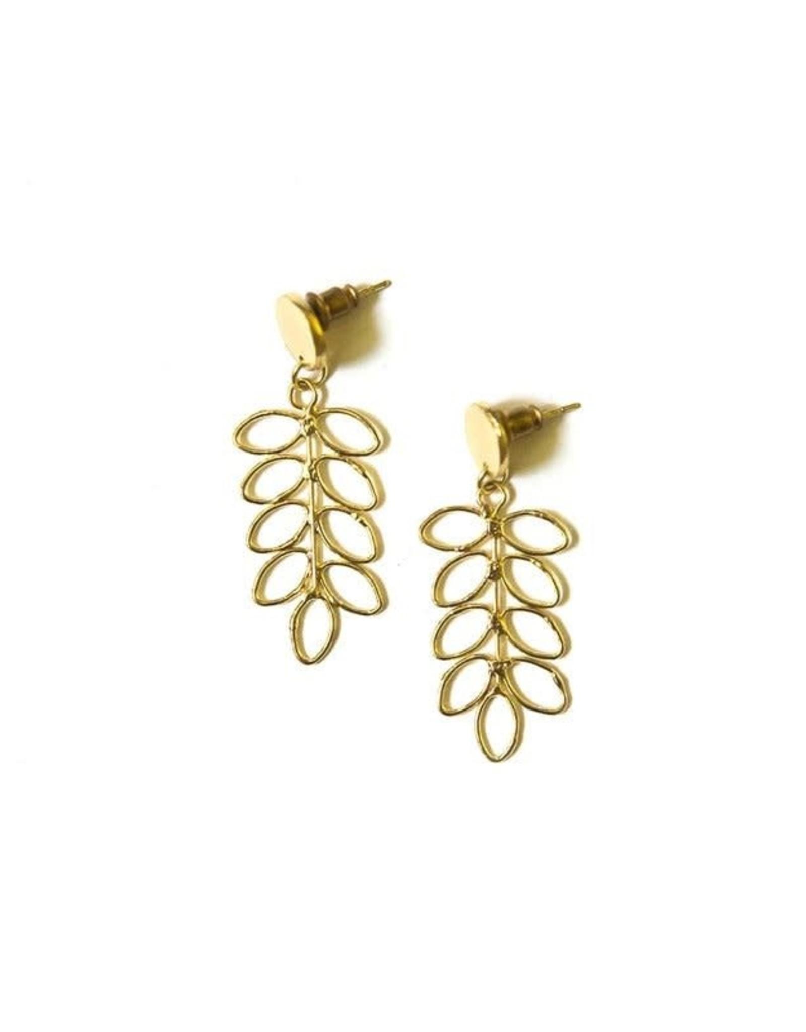 Fern Stud Earrings Brass, India
