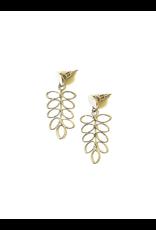Fern Stud Earrings Silver Silver, India