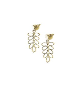 Fern Stud Earrings Silver Silver, India