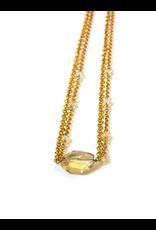 Citrine Stone Necklace, Brass, Peru