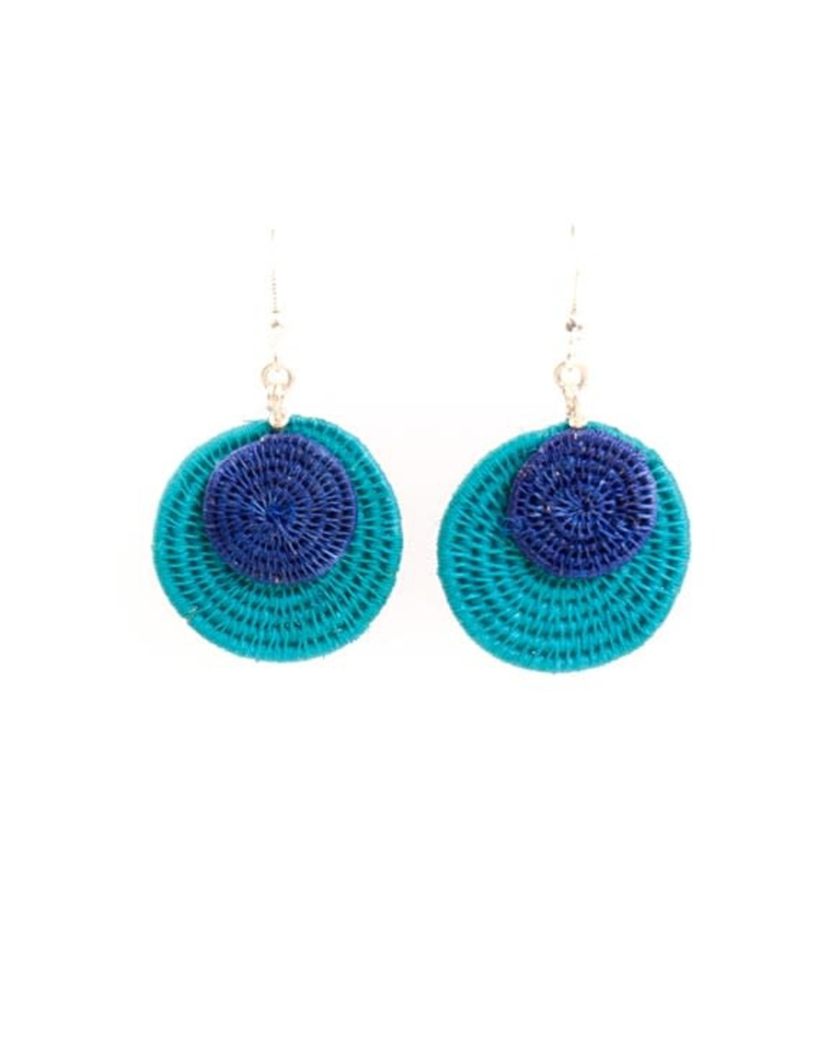 Large 2 Disk Eclipsing Earrings, Swaziland